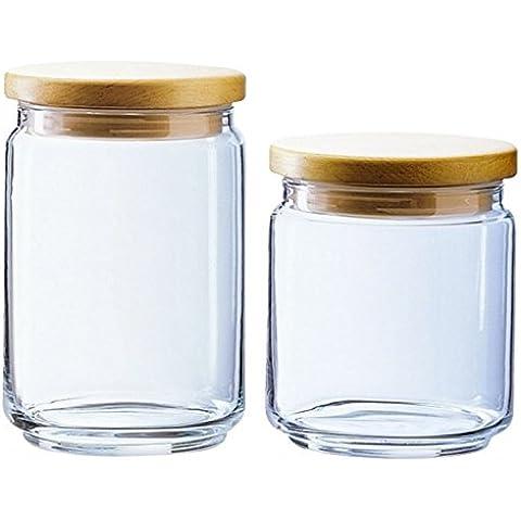 Confezione da 2pz Contenitori barattoli in vetro con tappo ermetico