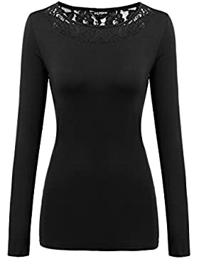 Zeagoo Damen T-Shirt mit Floral Spitze Langarmshirt Spitzenshirt Top Bluse Shirt Tunika Hemd (EU 42/ XL, X-Schwarz)