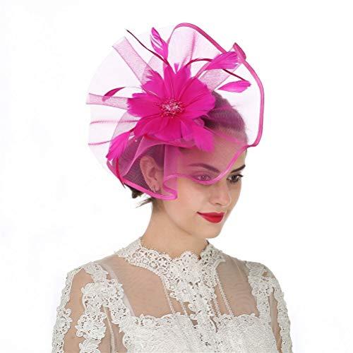 Fascinator Hut Feder Netz Schleier Party Hut Ascot Hats Blume Derby Hut mit Clip und Haarband für Frauen Gr. 85, A1-fuchsia