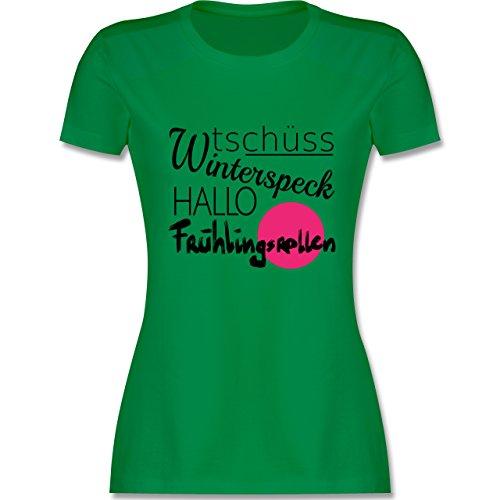 Statement Shirts - Tschüss Winterspeck Hallo Frühlingsrollen - tailliertes Premium T-Shirt mit Rundhalsausschnitt für Damen Grün