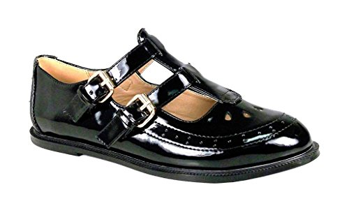 NEW WOMENS LADIES GIRLS BLACK PATENT FLAT BUCKLE T-BAR CUT OUT MARY JANE RETRO GEEK SCHOOL BROGUES SHOES SIZE 5