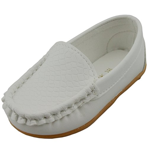 PPXID Boys Girls Soft Footwear Slip-on Loafers Oxford Shoes-White 11.5 UK Size