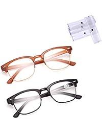 2 occhiali da lettura TR90 Occhiali da lettura leggeri Occhiali da vista rotondi vintage Occhiali da presbite anziani Cerniere a molla confortevoli Ridurre l'affaticamento degli occhi,3.0