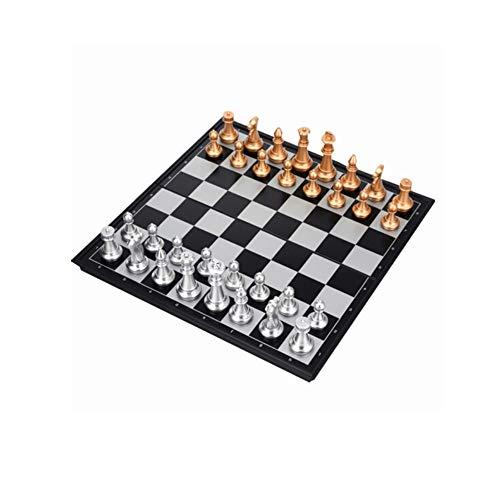 Kostüm Den Internationalen Einfach - Internationales Schach, exquisite Verarbeitung mit Magnetschachspiel, leicht zu transportieren Erwachsenen- / Kindertraining Spezial Gold- und Silberschach (schwarz + weiß) ( Size : Small )