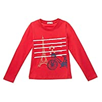 Adams Kids Red Round Neck T-Shirt For Girls