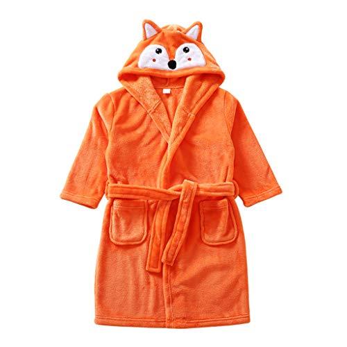 Kinder Bademantel Morgenmantel mit Kapuze Flanell Nachthemd Handtuch -