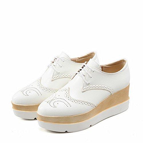 Voguezone009 Femmes Chaussures Bout Pointu Fermé Sheer Moyen Pure Pacing Blanc Ballerines