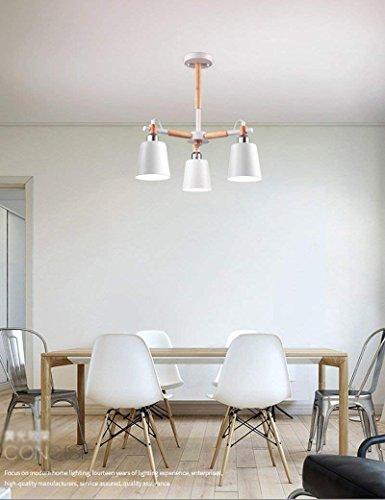 6/3 Lite Kronleuchter Lampe (CWJ Deckenleuchte - Nordic kreative Massivholz Lampe Körper Eisen Lampenschirm schwarz hoher Licht Kronleuchter einfache Studie 3/6/8-Lampe -Home warme Deckenleuchte,W-3-lights-Dreifarbiges Dimmen)