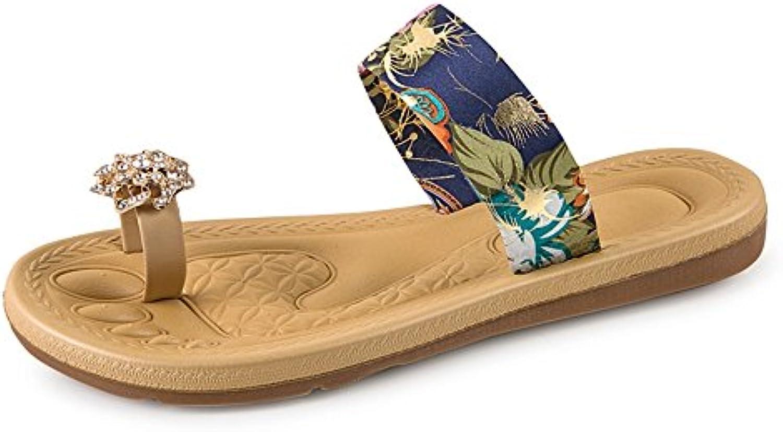 Sandalias de estudiante de punta abierta de verano con un rhinestone de palabra zapatillas y zapatillas de mujer...