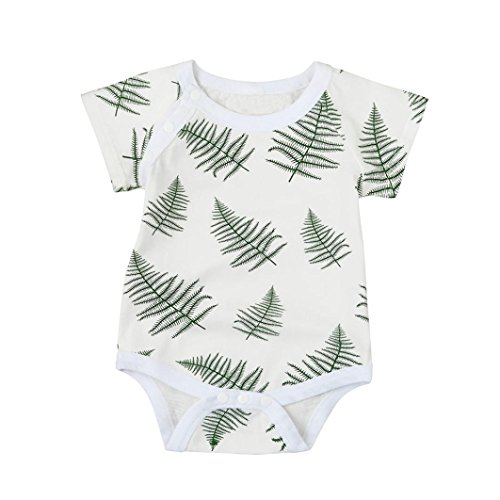 Clearance Sale,OSYARD Newborn Baby Girls Leaves Short Sleeve Romper Jumpsuit Clothes