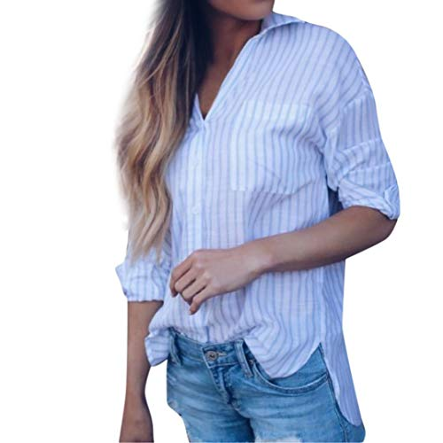 Bluse Damen Herbst Frauen Langarm Unregelmäßige Gestreifte Tops Oberteil Shirt Damen Langarmshirt Lose Hemd Lady-Fit T-Shirt Übergröße Tunika (Junge Gestreiften Hemd)