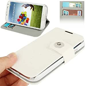 Flash Lines Button Leather Case with Credit Card Slots & Holder for Samsung Galaxy S4 / i9500 (White)