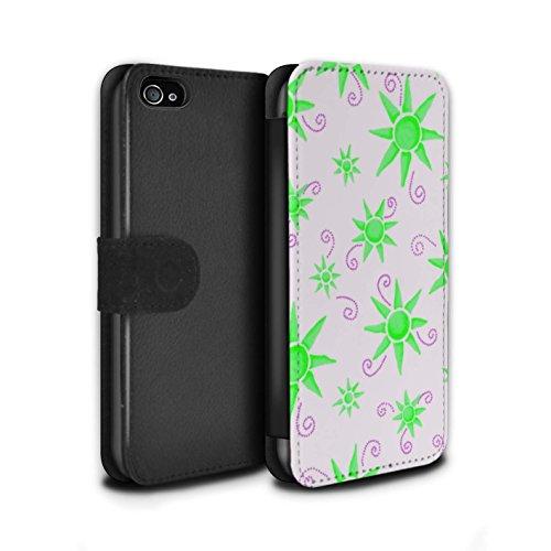 Stuff4 Coque/Etui/Housse Cuir PU Case/Cover pour Apple iPhone 4/4S / Turquoise/Rouge Design / Motif Soleil Collection Vert/Blanc