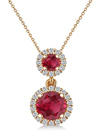 P_Gitanjali Jewels 925 Silver 2.25 Ct Rose Gold Over Round Cut Ruby Pendant With Chain Necklace For Women Pgp1030