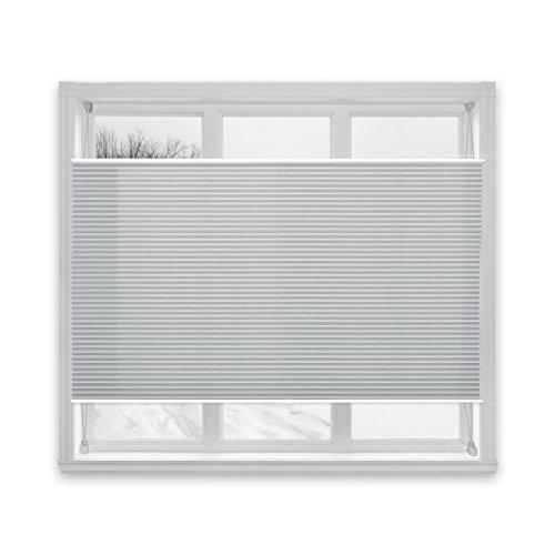 casa pura® Plissee Rollo | mit eleganter Crushed Optik | Klemmfix ohne Bohren | lichtdurchlässig & blickdicht | hellgrau | 24 Größen (55x200cm)