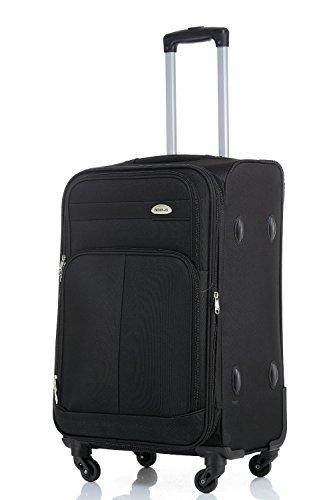 BEIBYE 4 Rollen Reisekoffer 3tlg.Stoffkoffer Gepäck Koffer Trolley SET-XL-L-M in 7 Farben (Schwarz, M-Handgepäck-54cm) (Schwarz-trolley)
