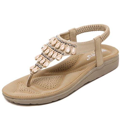 YRE Dame-elastische T-Bügel-Sandelholz-niedrige Flache Ferse-Korn-Strand-Schuh-Pfosten-Zapfen-flache Schuhe Die Tägliche Abnutzung Laufen Lassen,Beige-EU:40/UK:7