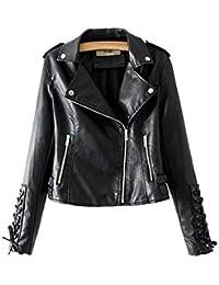 Giubbotto Similpelle per Moto Donna Elegante Cappotti Vintage Maniche  Lunghe Revers Zip Giacche Slim Fit fde857b9e8b