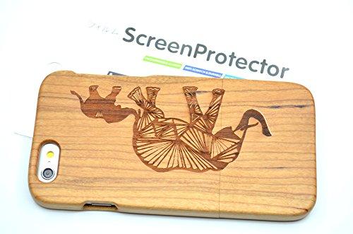 RoseFlower(TM) iPhone 6S Plus (5,5 Zoll (14 cm) Holzhülle - Kirschbaum-Mandala-Blume - NatürlicheHandgemachteBambus / Holz Schutzhüllemit Kostenlose Displayschutzfolie für Ihr Smartphone Kirschbaum-Elefanten