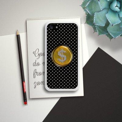 Apple iPhone 4 Housse Étui Silicone Coque Protection Dollar Argent Points Housse en silicone blanc