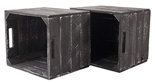moooble Vinterior 2er Neue graue Holzkiste Weiss Grey wash für IKEA Kallax Regal Expedit 33cm x 37,5cm x 32,5cm Einsätze weiß Obstkiste Weinkiste Aufbewahrungsbox Vintage Regal Aufbewahrungskiste