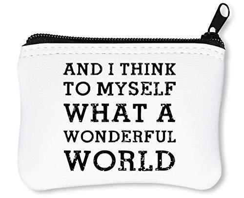 Wonderful World Car Sticker Reißverschluss-Geldbörse Brieftasche Geldbörse