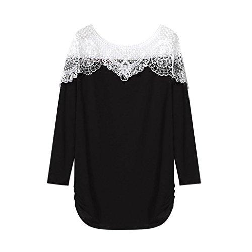 Rcool Damen 2018 Damen Langarmshirt Elegant Lace Blusen Spitze langarm Casual Party T-Shirt Tops (Schwarz, M/38) (Wolle Gestreifte Pant Slim)