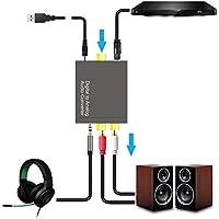 Hangang Convertidor de audio digital y analógico, DAC Digital SPDIF Toslink a estéreo analógico, adaptador con cable óptico para PS3,XBOX, HD, DVD, PS4,sistemas de cine en casa, amplificador AV y Apple TV