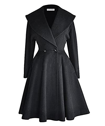 AJ FASHION Women's Wool Trench Coat Lapel Wrap Swing Winter Long Overcoat Jacket, Black, UK M=Label