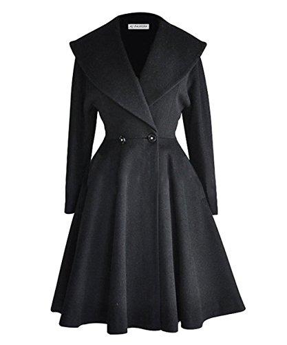 491b647673b50 Abrigo AJ Fashion de lana con solapas cruzadas, para mujer Negro negro Large