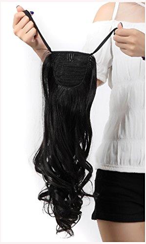 Pferdeschwanz Perücken (Clip in Extensions Haarverlaengerung Pferdeschwanz Zopf Haarverdichtung Haarteile Peruecken Tie Up Wrap Around Ponytail ca.45cm/18 Zoll Gelockt Gewellt Pony)