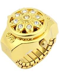 SODIAL(R)Reloj de anillo de dedo banda elastica devoraciob de flor de cristal esfera redonda tono de oro para senora