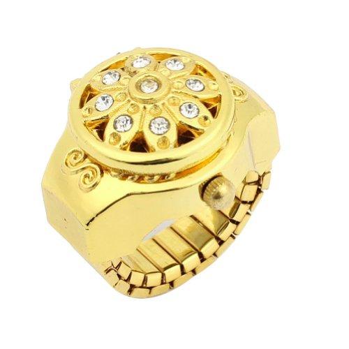 Elastic cinturino - SODIAL(R) Manopola rotonda Fiore fascia elastica di cristallo Decor barretta di tono orologio d'oro per Lady
