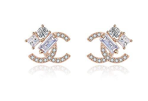 findout rosé vergoldet/Sterling Silber Cubic Zircons Goldfisch Ohrringe. Geschenk für Frauen Mädchen (F617) (Rose Earring)