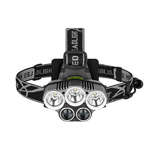 FiveFire LED Stirnlampe, USB Wiederaufladbare LED Kopflampe Rotlicht Wasserdicht Stirnlampe für laufen, joggen, campen, kinder, nachtangeln