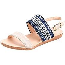Sandalias mujer, Manadlian Mujer Sandalias planas Zapatillas de Bohemia Chancletas Dedo del pie playa Gladiador Zapatos de tobillo (CN:40, Azul)