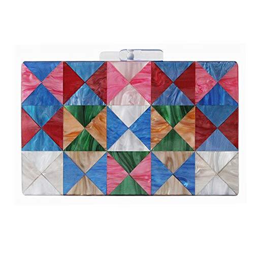 ZYXB Design Acryl Frauen Abendtaschen Bunte Geometrische Patchwork Party Handtasche Kleine Nette Hochzeit Kupplung Weiblich,A3