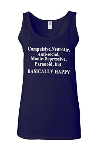 Basically Happy Sad Angry Emotion Novelty White Femme Women Tricot de Corps Tank Top Vest Bleu Foncé