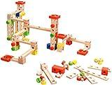 Playtastic Kugelbahn Komplett-Set: Kugelbahn-Bausatz aus Holz, 50-teilig (Spielzeug mit angewandter Physik)