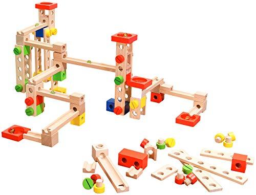 Playtastic Holzkugelbahn: Kugelbahn-Bausatz aus Holz, 50-teilig (Kugelbahn Komplett-Set)