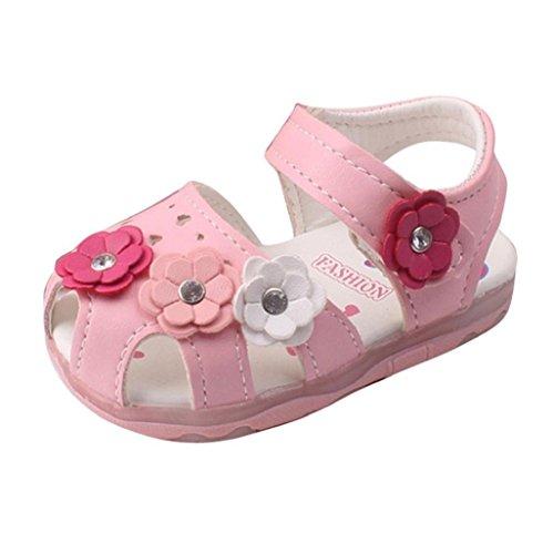 Baby Schuhe Auxma Baby Girls Hollow Blumen Sandalen beleuchtete Soft-Soled Prinzessin Schuhe Firstwalker Sommer Schuhe (12-18 M, Rosa)