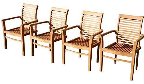 ASS 4Stk ECHT Teak Design Gartensessel Gartenstuhl Sessel Holzsessel Gartenmöbel Holz seh