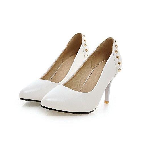 AgooLar Femme Pointu Tire Pu Cuir Mosaïque Chaussures Légeres Blanc