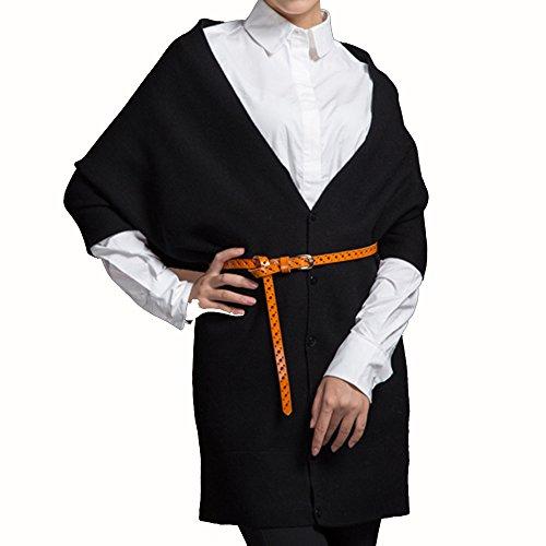 BBYE Autunno Inverno Sciarpa a doppio uso Donne lungo sezione di addensamento a maglia scialle Lounger Tenere Scialle caldo ( colore : Nero