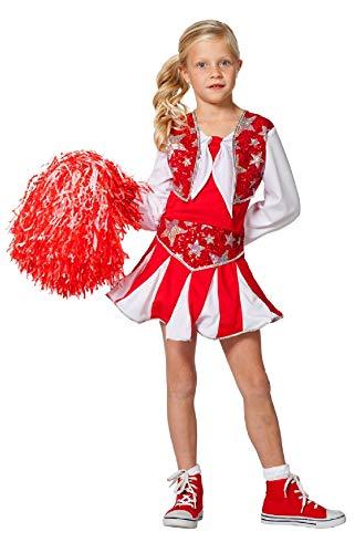 narrenkiste W3182-A-164 rot-weiß Kinder Mädchen Cheerleader Tänzer Trikot Kostüm Gr.164 (Tänzer Kostüm Kinder)