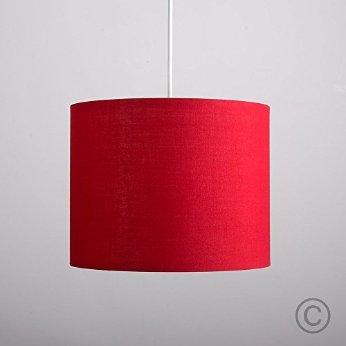 Red ceiling lights amazon small modern rolla polycotton red cylinder ceiling pendant table lamp drum light shade aloadofball Image collections