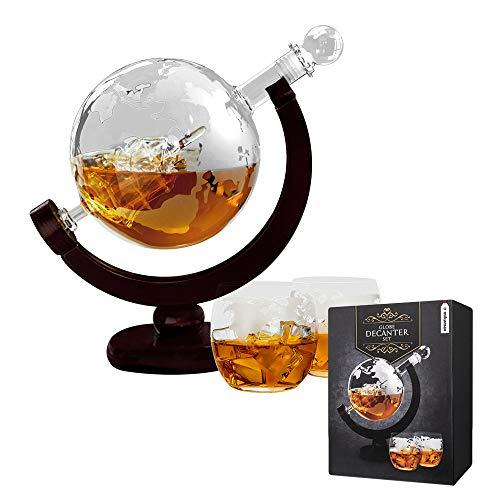 Mikamax - Globe Decanter Set - Carafe à Whisky Globe - Décanteur Whisky - avec 2 Verres à Whisky - 850 ML - Transparent - 24.5 x 15.5 x 38.5 cm - Whiskey Decanter Globe
