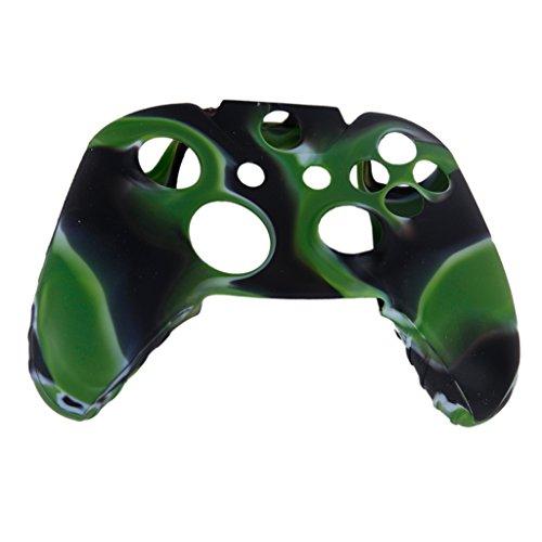 Skin Camo Soft Silikon Schutzhülle für XBOX ONE Spiel Controller- Lemon Grün mit Schwarz (Xbox 360 E Fall-haut)