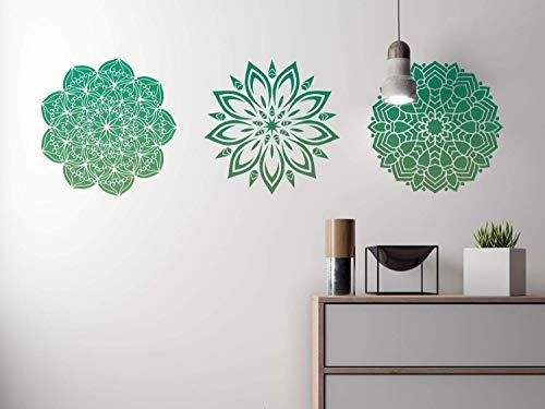 Set mit 3 Premium Mandala Schablonen für Wandgestaltung, Möbel, Stoff, Textilgestaltung -