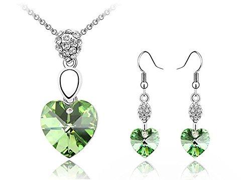 Le donne monili di oro ciondola la collana del pendente di cristallo del cuore di cristallo verde orecchini bianco 18K ha placcato